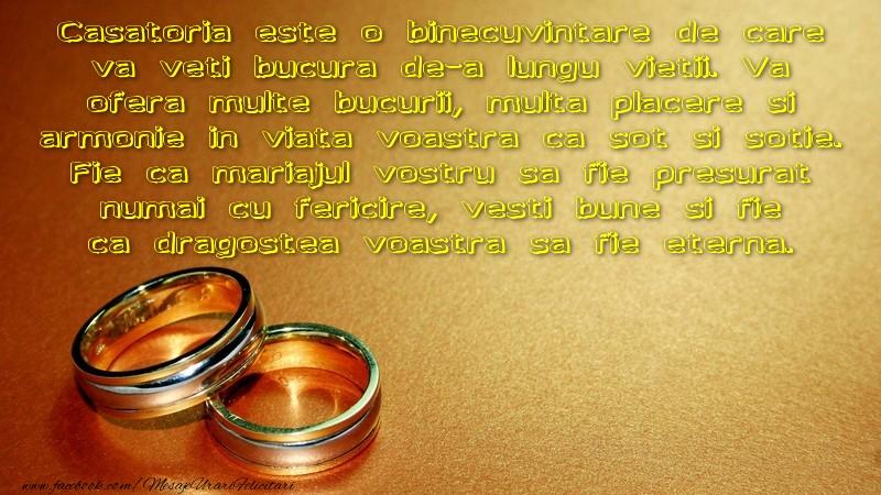 Felicitari aniversare De Casatorie - Vesti bune si fie ca dragostea voastra sa fie eterna.