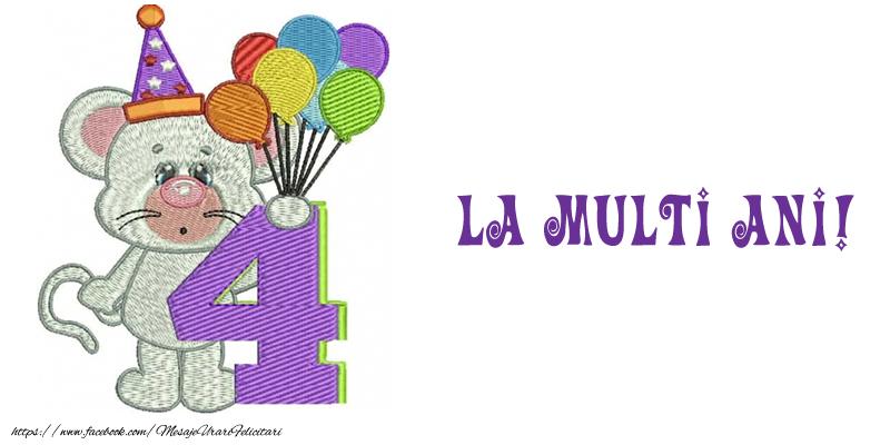 Felicitari aniversare Pentru Copii - Felicitare 4 ani! La multi ani!