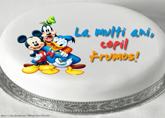 Felicitari aniversare Pentru Copii - Felicitare cu tort cu personaje din desene animate: La multi ani, copil frumos!