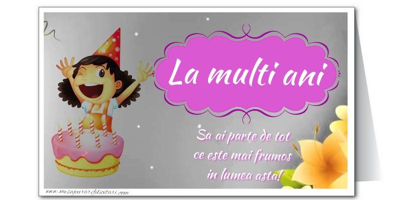 Felicitari aniversare De La Multi Ani - La multi ani. Sa ai parte de tot ce este mai frumos in lumea asta!