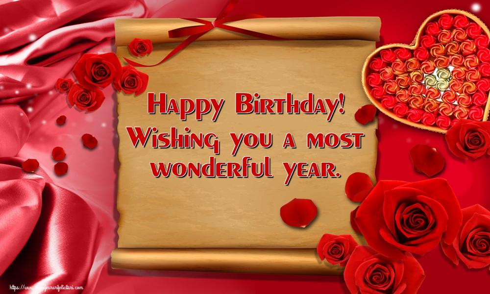 Felicitari Aniversare in limba Engleza - Happy Birthday! Wishing you a most wonderful year.
