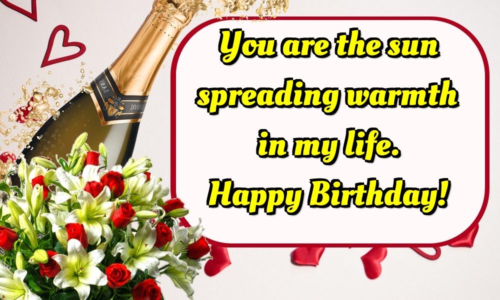 Felicitari Aniversare in limba Engleza - You are the sun spreading warmth in my life. Happy Birthday!