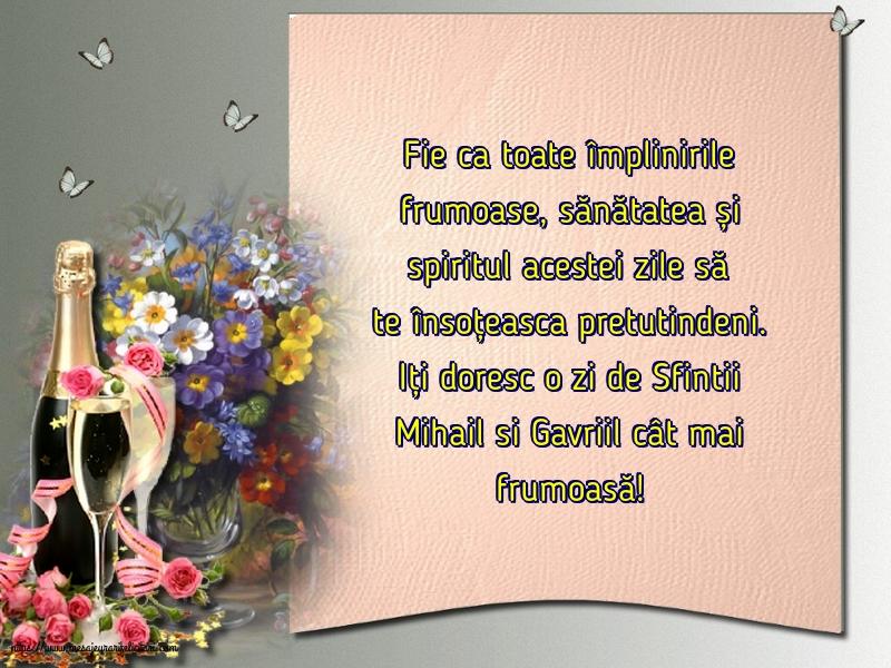 Felicitari aniversare De Sfintii Mihail si Gavril - Iți doresc o zi de Sfintii Mihail si Gavriil cât mai frumoasă!