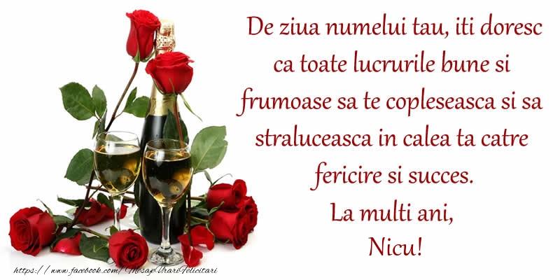 Felicitari aniversare De Sfantul Nicolae - De ziua numelui tau, iti doresc ca toate lucrurile bune si frumoase sa te copleseasca si sa straluceasca in calea ta catre fericire si succes. La Multi Ani, Nicu!