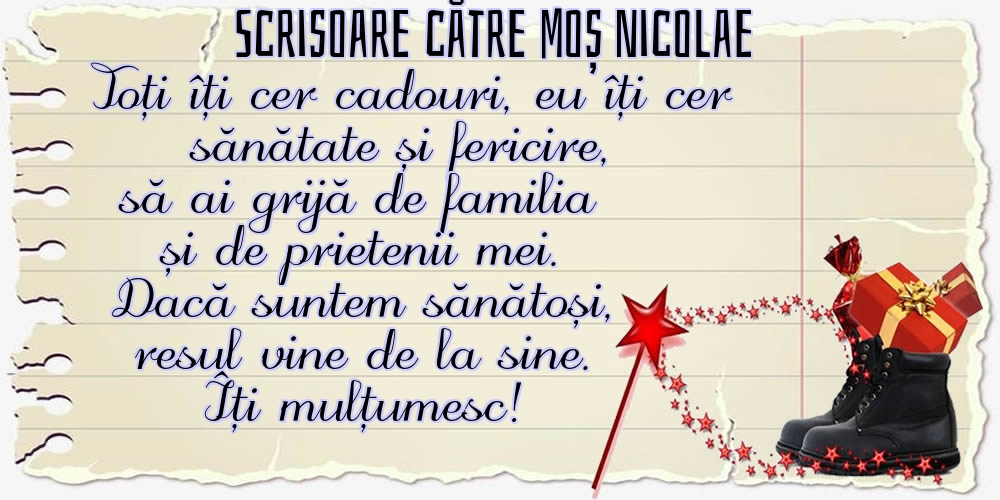 Felicitari aniversare De Sfantul Nicolae - Scrisoare către Moș Nicolae