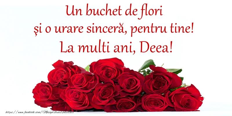 Felicitari aniversare De Sfantul Andrei - Un buchet de flori si o urare sincera, pentru tine! La multi ani, Deea!