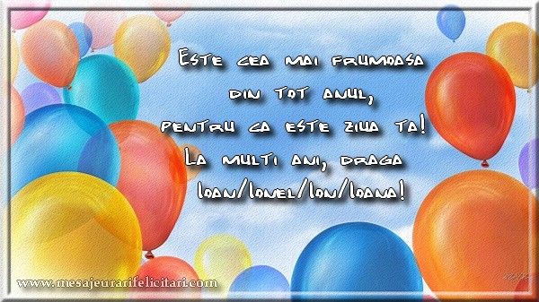 Felicitari aniversare De Sfantul Ioan - Este ziua ta Ioan/Ionel/Ion/Ioana!
