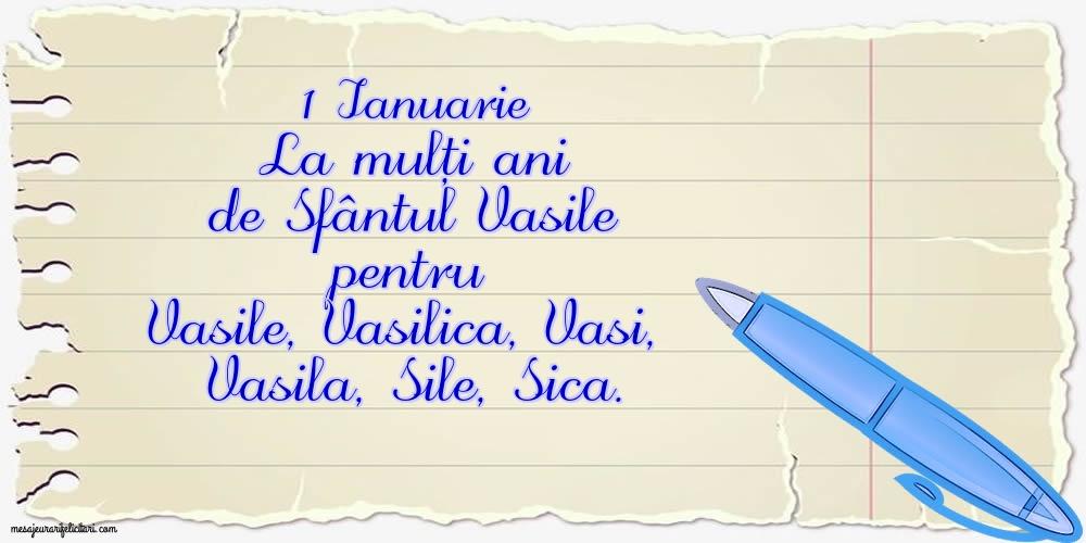 Felicitari aniversare De Sfantul Vasile - 1 Ianuarie