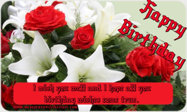 Felicitari Aniversare in limba Engleza - I wish you well and I hope all you birthday wishes come true!