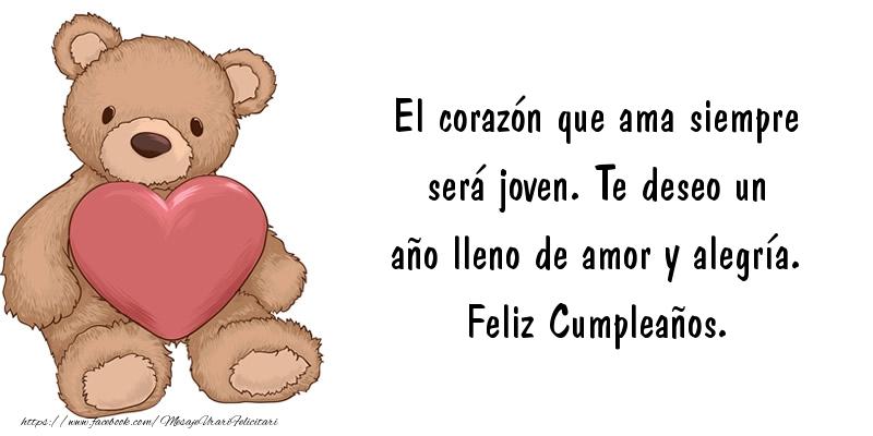 Felicitari Aniversare in limba Spaniola - Te deseo un año lleno de amor y alegría. Feliz Cumpleaños.