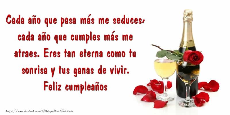 Felicitari Aniversare in limba Spaniola - Eres tan eterna como tu sonrisa y tus ganas de vivir. Feliz cumpleaños