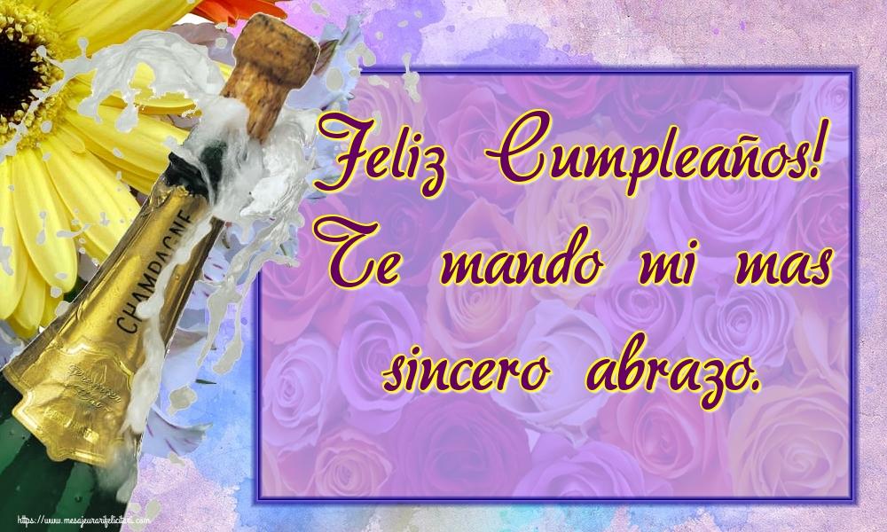 Felicitari Aniversare in limba Spaniola - Feliz Cumpleaños! Te mando mi mas sincero abrazo.