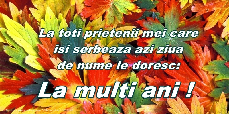 Felicitari aniversare De Ziua Numelui - La toti prietenii mei care isi serbeaza azi ziua de nume le doresc: La multi ani!