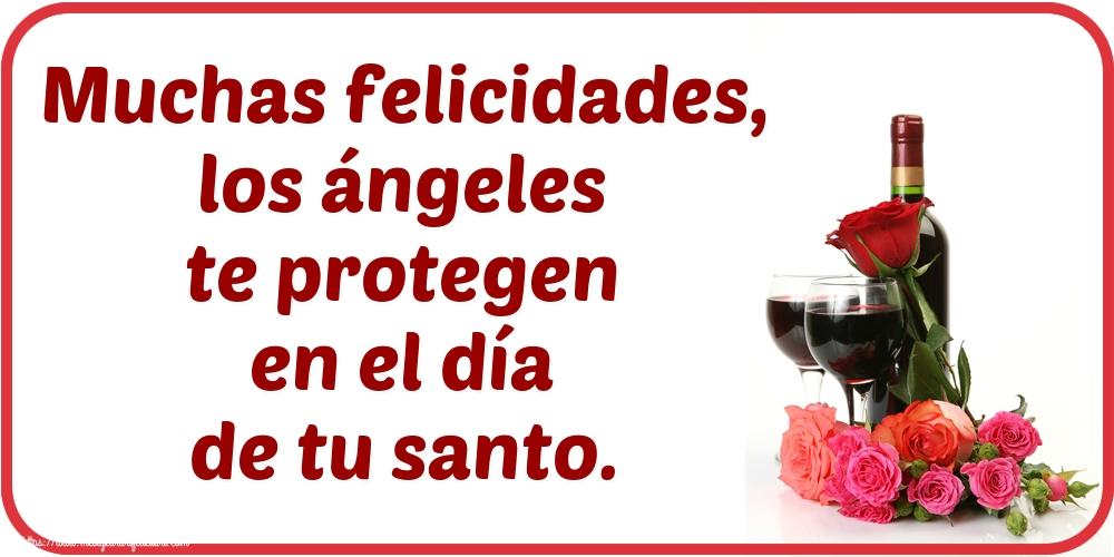 Felicitari Aniversare in limba Spaniola - Muchas felicidades, los ángeles te protegen en el día de tu santo.