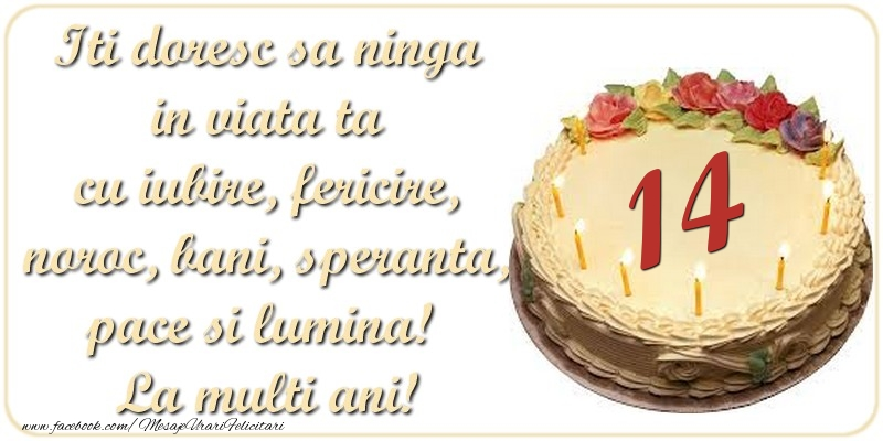Iti doresc sa ninga in viata ta cu iubire, fericire, noroc, bani, speranta, pace si lumina! La multi ani! 14 ani
