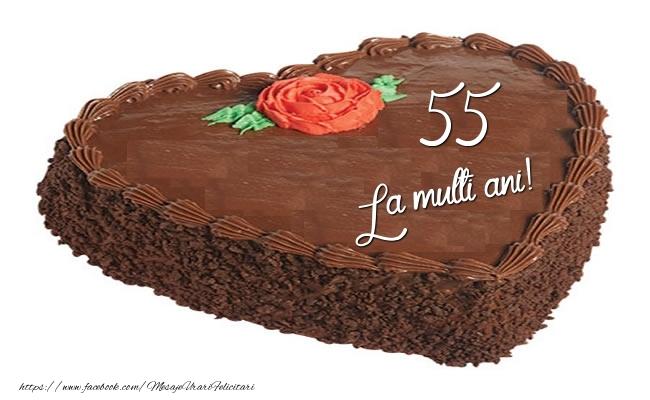 Tort in forma de inima: La multi ani 55 ani!