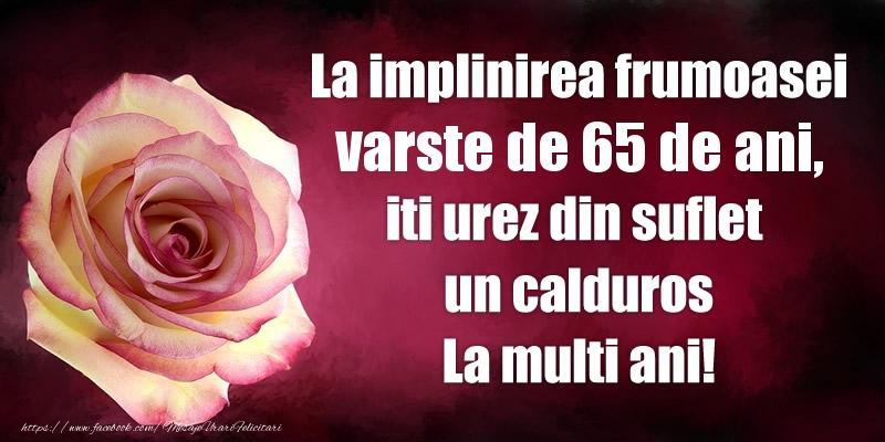 La implinirea frumoasei varste de 65 ani, iti urez din suflet  un calduros La multi ani!